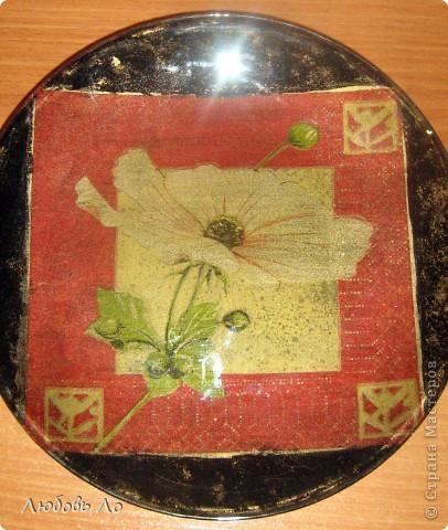 Ещё одна тарелочка с обратным декупажем. фото 1