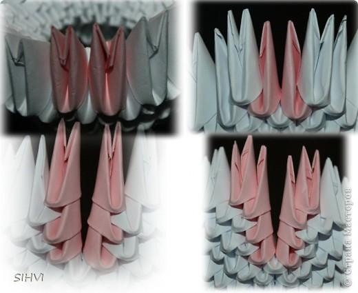 Эта увлекательная техника — создание объёмных фигур из треугольных модулей оригами — придумана в Китае. Целая фигура собирается из множества одинаковых частей (модулей). Каждый модуль складывается по правилам классического оригами из одного листа бумаги, а затем модули соединяются путем вкладывания их друг в друга. Появляющаяся при этом сила трения не даёт конструкции распасться. Поэтому собрать такого лебедя можно без клея (если вы не собираетесь его использовать как игрушку).   Чтобы собрать лебедя понадобится довольно много модулей. Поэтому, его легче мастерить большой компанией. Также, этот вид творчества отлично подходит для коллективных работ в школе. Можно экспериментировать с разными видами бумаги. Подходит офисная бумага разных цветов, мелованная цветная бумага. Иногда складывают такие фигурки из журнальных вырезок и фантиков. Плохо подходит школьная цветная бумага, т. к. она слишком тонкая, рыхлая, ломается и рвётся на сгибах.  фото 18
