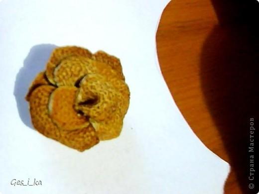 роза сделана из апельсиновой корки, вырезала лепесточки, сушила, затем склеила фото 1