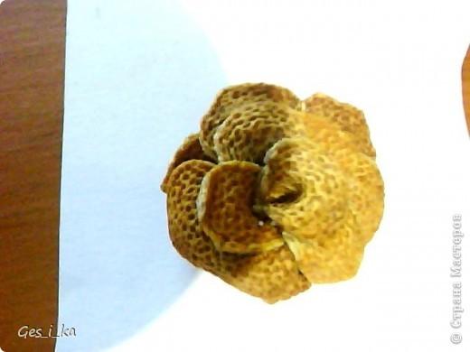 роза сделана из апельсиновой корки, вырезала лепесточки, сушила, затем склеила фото 2