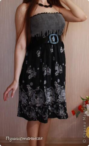 Простое платьице шила из ткани купон с резичатым верхом... И за эту ткань спасибо, сетрульке-котофеевне!  фото 1