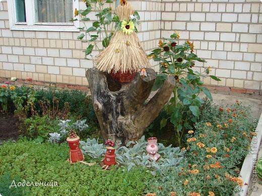 Вот такой улей я сделала для украшения своего палисадника прошлым летом. Сделан он из старой корзины, крыша из камыша. фото 1