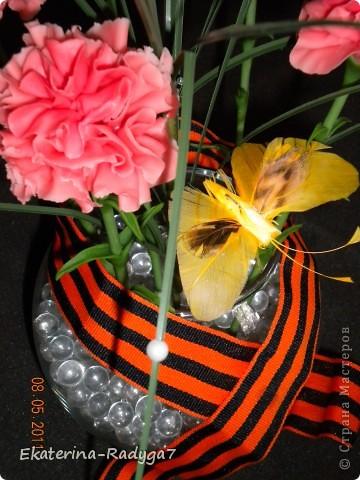 Вот такая композиция у меня получилось к празднику! Спасибо ЕМ за ее МК по гвоздикам, но сами цветочки собирала немного иначе. В общем как всегда судить Вам! Приятного просмотра :)  фото 4