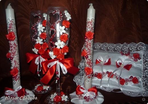 Красный свадебный набор.
