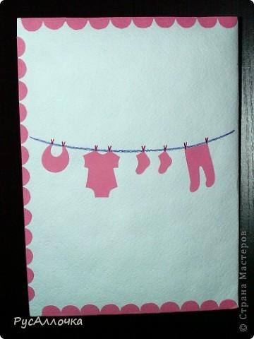 Сегодня я хочу поделиться с вами парой идей для создания открыток. Эту я сделала в подарок подруге на рождение дочки. Буквы выпуклые из папье-маше, покрытые краской и лаком. фото 5