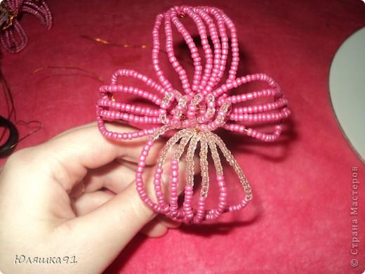 Бисер я использовала 2х цветов розовый и белый. фото 2