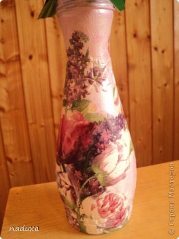 Бутылочка превращенная в вазу фото 2