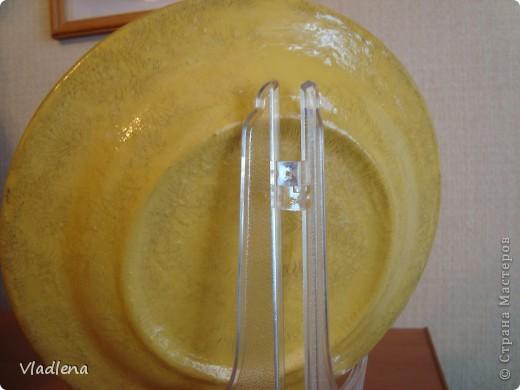 №1. Тарелочка керамическая D175мм, салфетка, акрил, кракелюр FERRARIO в паре с водным лаком. фото 4
