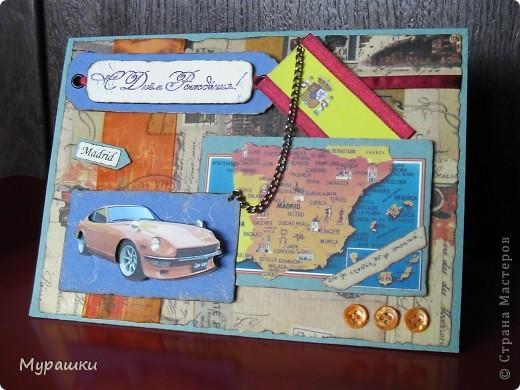 """Опять та самая любимая крафт-бумага. Обожаю. Тема открытки """"Испания"""", т.к. мальчик учится в испанской школе. фото 1"""