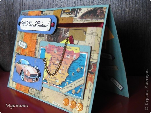 """Опять та самая любимая крафт-бумага. Обожаю. Тема открытки """"Испания"""", т.к. мальчик учится в испанской школе. фото 2"""