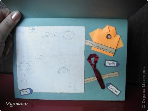 """Опять та самая любимая крафт-бумага. Обожаю. Тема открытки """"Испания"""", т.к. мальчик учится в испанской школе. фото 4"""