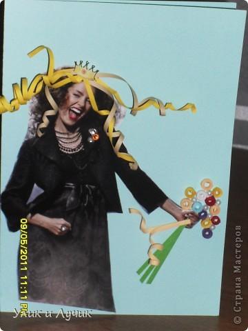 """открытка """"родилась"""" минут за 20, как всегда экспромт Сегодня обещала на работе принести открытку нашей замечательной коллеге , что бы поздравить с днем рождения. Времени в обрез, как всегда, но надеюсь , открытка придется по душе фото 1"""