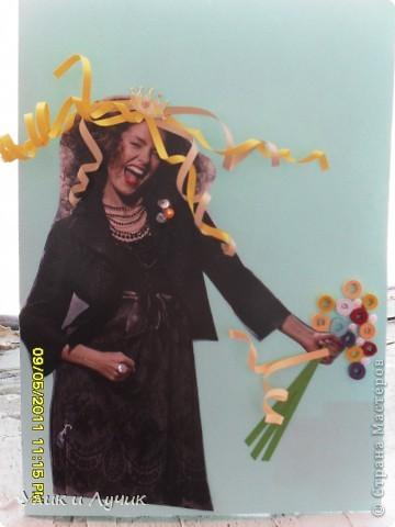"""открытка """"родилась"""" минут за 20, как всегда экспромт Сегодня обещала на работе принести открытку нашей замечательной коллеге , что бы поздравить с днем рождения. Времени в обрез, как всегда, но надеюсь , открытка придется по душе фото 3"""