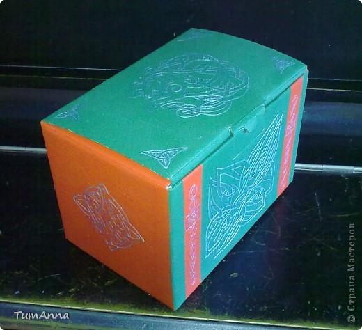 коробка обувная обыкновенная и ещё одна, из под чего я уже не помню ^_^. Узоры нарисованы контурной краской. фото 7