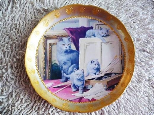 Милые котята!!! Моя любимая тема с кошками! Распечатка акрил,иногда кракелюр,контур,лак спрей. фото 2