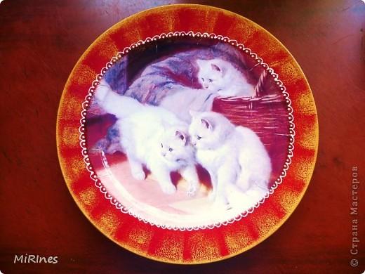 Милые котята!!! Моя любимая тема с кошками! Распечатка акрил,иногда кракелюр,контур,лак спрей. фото 1