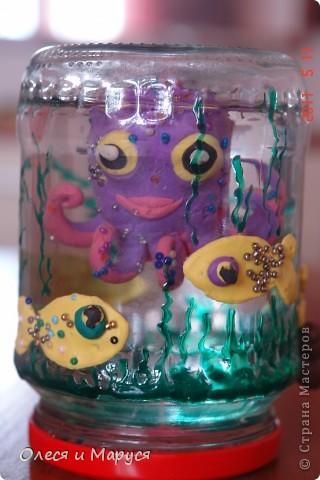 Лепили всей семьёй доче осьминожика, доча рыбок украшала бисером.Отличная необычная идея, спасибо Анат!   Доче очень нравиться! фото 2