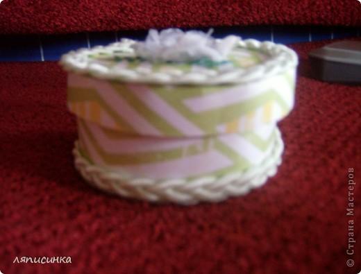 Шкатулка из бабины от скотча. Использовала скрап-бумагу. фото 1