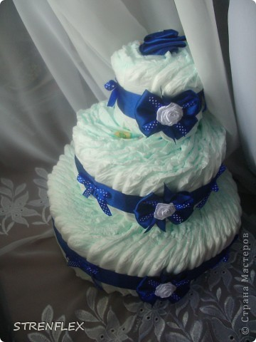 Вот выставляю обещанный тортик для богатыря Илюши. Памперсы в этом тортике выложила по-другому! За эту идею огромное спасибо Викторие Борзовой http://stranamasterov.ru/node/190055?c=favorite фото 7
