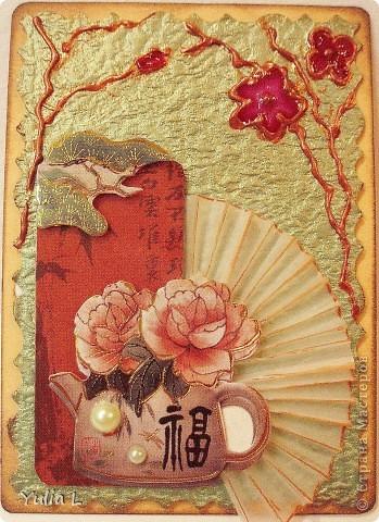 Новая серия из 9 карточек в восточной тематике.  Попробовала использовать для веточек и цветов  витражные контуры  и краски. Фон - плотная жатая бумага с блеском.  Серия дополнена и закрыта.  фото 10