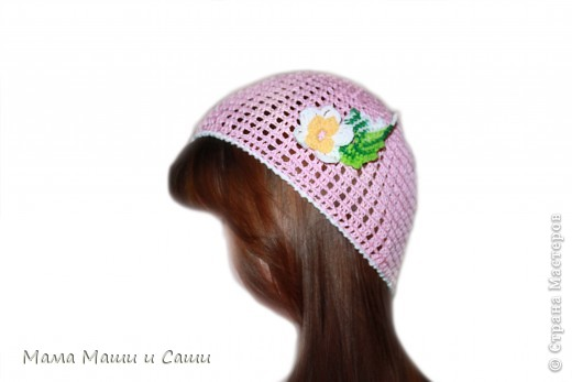 Летняя шапочка с цветком. фото 1