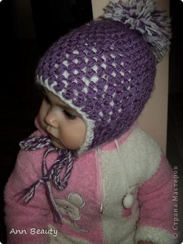 Вот такая вышла шапочка для дочки на зиму фото 3