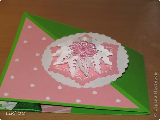 Впервые увидела такую открытку. Очень интересная форма и исполнение. А нашла я её у Оли ya-yalo http://stranamasterov.ru/node/172941?c=favorite.  В её блоге много всевозможных открыток такого типа. фото 4