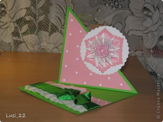Впервые увидела такую открытку. Очень интересная форма и исполнение. А нашла я её у Оли ya-yalo http://stranamasterov.ru/node/172941?c=favorite.  В её блоге много всевозможных открыток такого типа. фото 1