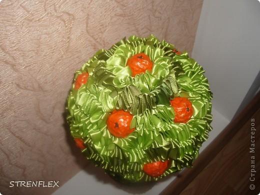 Моя свекровь, будучи у меня в гостях, увидела мое первое атласно-апельсиновое дерево http://stranamasterov.ru/node/164804 - захотела себе такое же на день рождения!!! Вот оно и получилось! Сделала я его еще к 7 апреля, а вот только выставила... фото 4