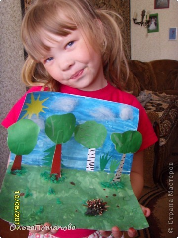 На фото плохо видно, картинка объемная: деревья из бумаги а ежик из пластилина, облака из пушистого синтапона фото 1