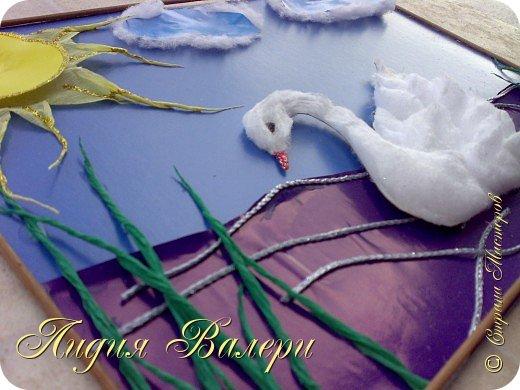 Белый лебедь- делала  для моего сыночка на конкурс (ему 5 лет). Использовала для поддержки пушистости ваты, для лебедя,  лак для волос сильной фиксации с блестками фото 3