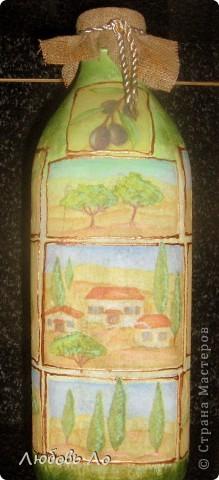 Бутылка из под оливкового масла для него же и украшенная. Пока без лака. фото 1