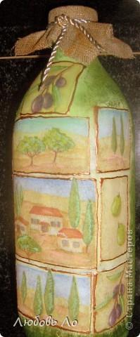Бутылка из под оливкового масла для него же и украшенная. Пока без лака. фото 2