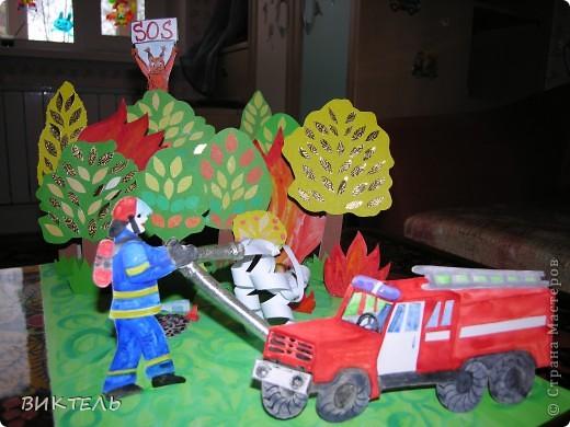 Эту объемную поделку мы с дочкой тоже делали на конкурс ко дню пожарного. фото 1