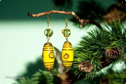 """Серьги """"Би-лайн"""" :))) уж очень они похоже на пчелиное брюшко :)) фото 1"""