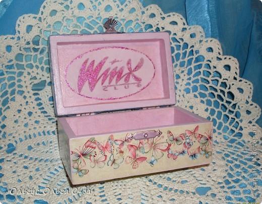 Впервые делала шкатулку для девочки любительницы героев мультфильма Винкс. Никак не могла сориентироваться, какую картинку выбрать, чтобы угодить юной леди. В результате получилось вот что: фото 4
