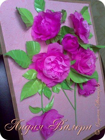 Розы из гофрированной бумаги  фото 2