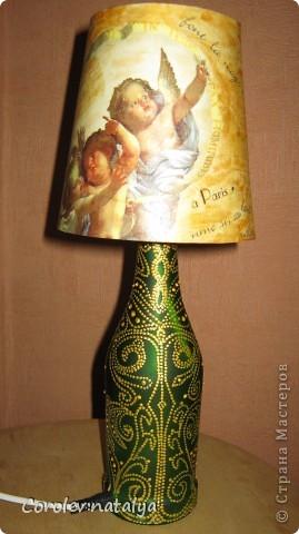 Ночник сделан из бутылки.Расписан в технике point-to-point. и декупажирован абажур. фото 2
