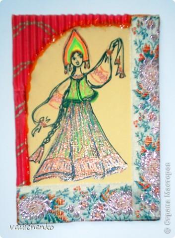 Поэзия русского костюма... Давно где-то прочитала эти строки.  Хочу предложить вашему вниманию всего 4 карточки, одну из которых я специально сделала нашей Анечке (Анаджан)  - помните её аватарочку? Русский народный костюм - очень сложен, многослоен и прекрасен! фото 4