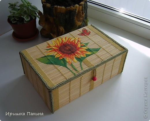 Готова моя ШКАТУЛЬ! Декупаж на салфетке из бамбука.  фото 4