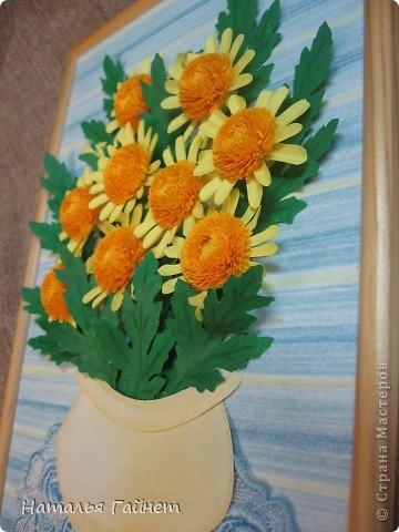 Букет желтых хризантем.Прекрасные солнечные цветы! Во время изготовления панно изучила рисование ваз и горшков и чуточку - живопись пастелью.А также просмотрела множество фотографий хризантем.Они такие замечательные.И рассматривала работы наших талантливых мастериц - вдохновлялась и впитывала.Вот что получилось.  фото 6