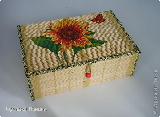 Готова моя ШКАТУЛЬ! Декупаж на салфетке из бамбука.  фото 1