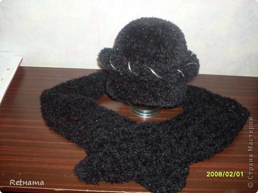 шапочка  из травки + шарфик+штучка(ободок) фото 2