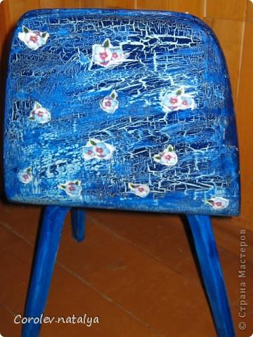 Стульчик для внучки в переделанном виде. Декупаж+ кракелюр. фото 4