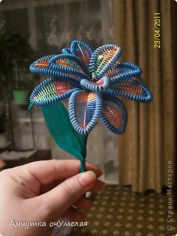 А этот цветок сделали вместе с сыном в подарок учительнице по имеющимся здесь МК.