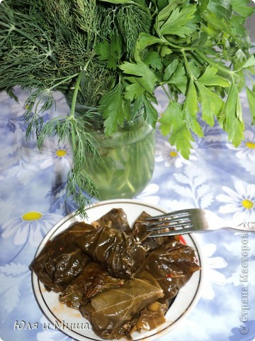 Долма имеет множество вариантов рецептов. Некоторые даже называют ее голубцами в виноградных листьях. Это не совсем так. Все зависит от начинки.  Предлагаем свой вариант блюда. Ингридиенты: мясной фарш - 500 г молодые виноградные листья - 30 штук лук - 2 больших головки кинзу - 1 пучек томат (или кетчуп) подсолнечное масло лавровый лист соль, перец - по вкусу фото 1