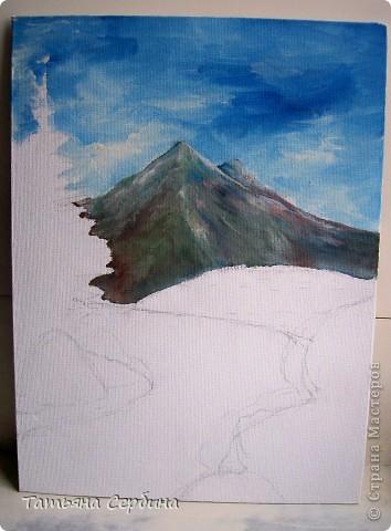 С детства меня восхищали пейзажи. давно хотела попробовать тоже что - нибудь подобное изобразить, и , вот, собралась и нарисовала такой : фото 4