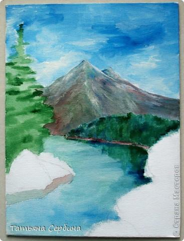 С детства меня восхищали пейзажи. давно хотела попробовать тоже что - нибудь подобное изобразить, и , вот, собралась и нарисовала такой : фото 5