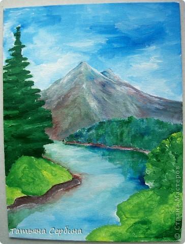 С детства меня восхищали пейзажи. давно хотела попробовать тоже что - нибудь подобное изобразить, и , вот, собралась и нарисовала такой : фото 6