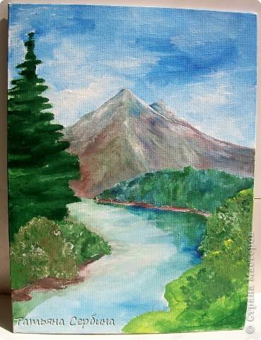 С детства меня восхищали пейзажи. давно хотела попробовать тоже что - нибудь подобное изобразить, и , вот, собралась и нарисовала такой : фото 7
